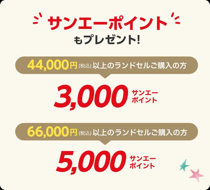44,000円(税込)以上のランドセルご購入の方に3,000サンエーポイント、66,000円(税込)以上のランドセルご購入の方に5,000サンエーポイントをプレゼント!